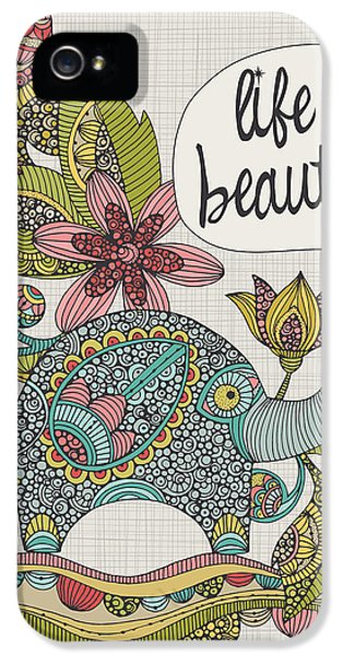 Elephant iPhone 5s Case - Life Is Beautiful by Valentina