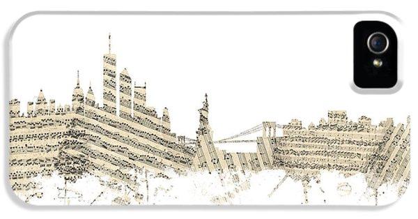 Philadelphia Pennsylvania Skyline Sheet Music Cityscape IPhone 5s Case by Michael Tompsett