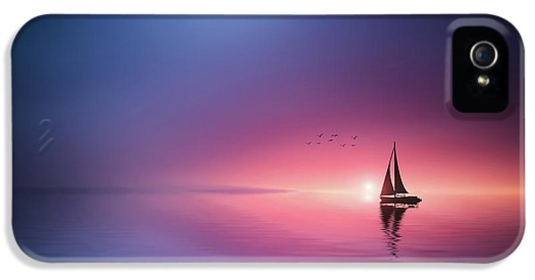 Pastel Colors iPhone 5s Case - Sailing Across The Lake Toward The Sunset by Bess Hamiti