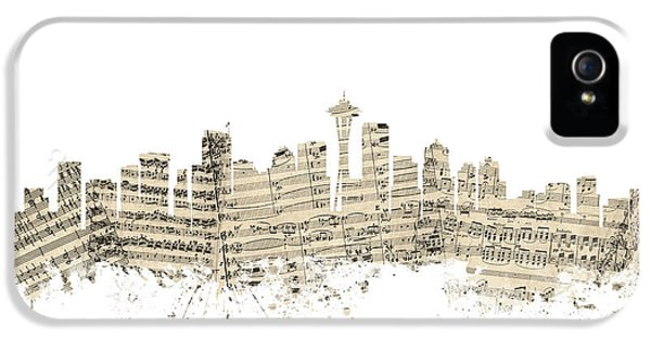 Seattle Skyline iPhone 5s Case - Seattle Washington Skyline Sheet Music Cityscape by Michael Tompsett