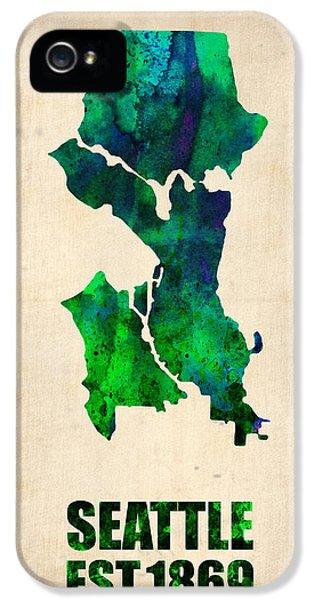 Seattle iPhone 5s Case - Seattle Watercolor Map by Naxart Studio
