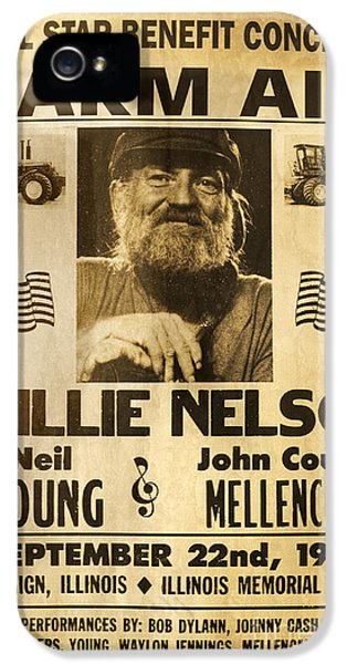 Vintage Willie Nelson 1985 Farm Aid Poster IPhone 5s Case by John Stephens