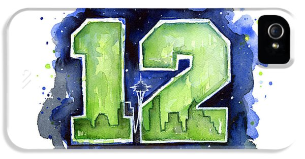 12th Man Seahawks Art Seattle Go Hawks IPhone 5s Case by Olga Shvartsur
