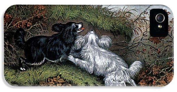 Woodcock iPhone 5s Case - 1860s Two Spaniel Dogs Flushing by Vintage Images