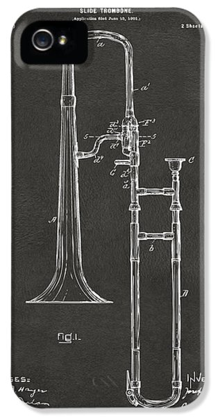 Trombone iPhone 5s Case - 1902 Slide Trombone Patent Artwork - Gray by Nikki Marie Smith