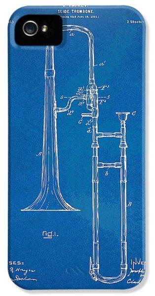 Trombone iPhone 5s Case - 1902 Slide Trombone Patent Blueprint by Nikki Marie Smith