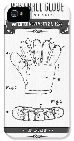 Softball iPhone 5s Case - 1922 Baseball Glove Patent Drawing by Aged Pixel