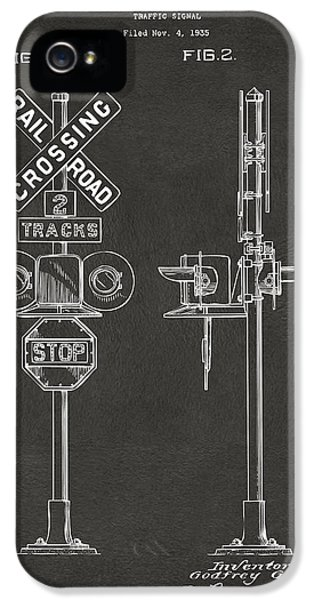 Train iPhone 5s Case - 1936 Rail Road Crossing Sign Patent Artwork - Gray by Nikki Marie Smith