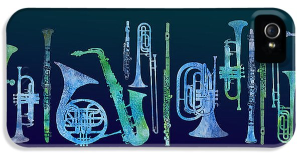 Trombone iPhone 5s Case - Cool Blue Band by Jenny Armitage