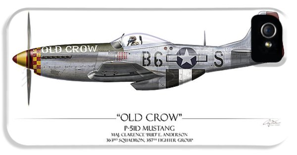 Old Crow P-51 Mustang - White Background IPhone 5s Case by Craig Tinder