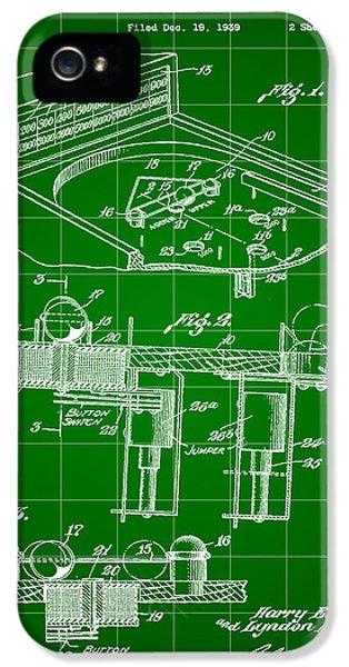 Pinball Machine Patent 1939 - Green IPhone 5s Case by Stephen Younts