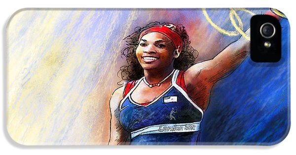 2012 Tennis Olympics Gold Medal Serena Williams IPhone 5s Case by Miki De Goodaboom