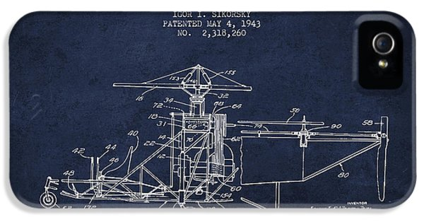 Sikorsky Helicopter Patent Drawing From 1943 IPhone 5s Case