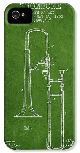 Trombone Patent From 1902 - Green IPhone 5s Case by Aged Pixel