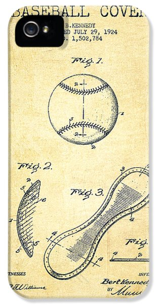 Baseball Cover Patent Drawing From 1924 IPhone 5s Case