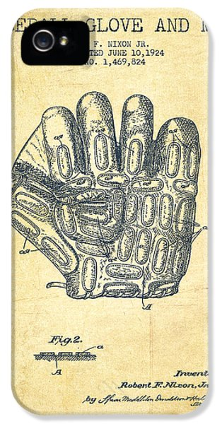Baseball Glove Patent Drawing From 1924 IPhone 5s Case