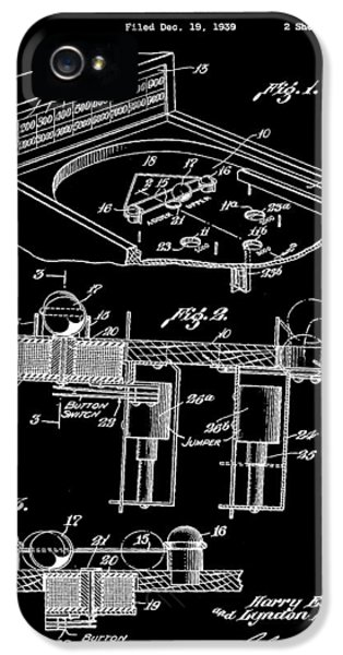 Pinball Machine Patent 1939 - Black IPhone 5s Case by Stephen Younts