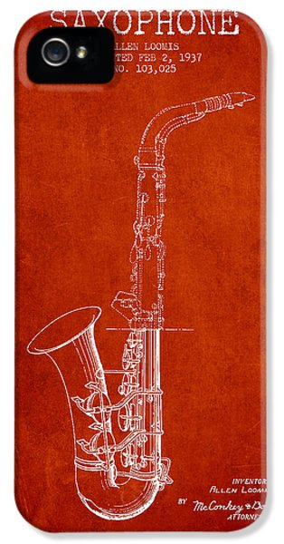 Saxophone Patent Drawing From 1937 - Red IPhone 5s Case by Aged Pixel