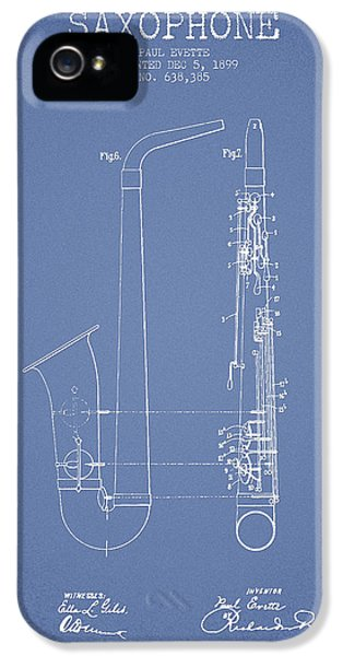 Saxophone Patent Drawing From 1899 - Light Blue IPhone 5s Case by Aged Pixel