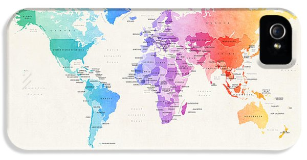 Planets iPhone 5s Case - Watercolour Political Map Of The World by Michael Tompsett