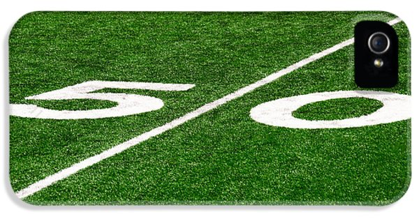 Football iPhone 5s Case - 50 Yard Line On Football Field by Paul Velgos
