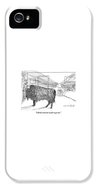 Yak iPhone 5s Case - A Large Buffalo Stands Near The Door by Michael Crawford