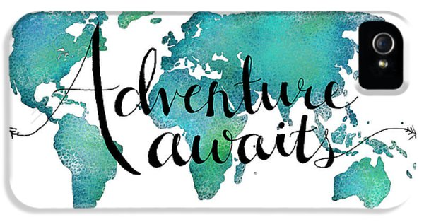 Adventure Awaits - Travel Quote On World Map IPhone 5s Case by Michelle Eshleman