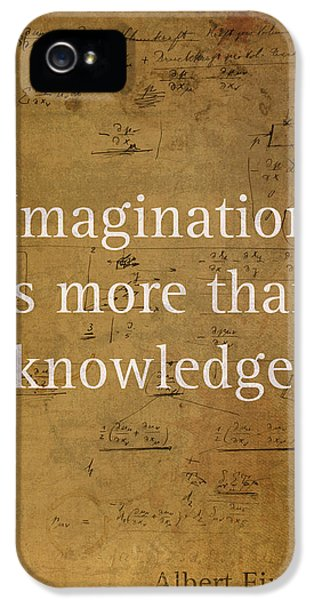 Albert Einstein Quote Imagination Science Math Inspirational Words On Worn Canvas With Formula IPhone 5s Case