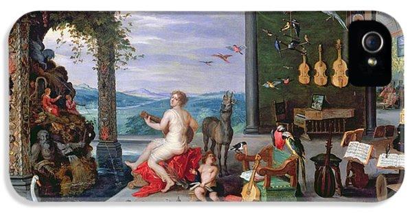Trombone iPhone 5s Case - Allegory Of Music Oil On Canvas by Jan the Elder Brueghel