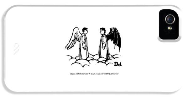 An Angel With Bat Wings Speaks To An Angel IPhone 5s Case by Drew Dernavich