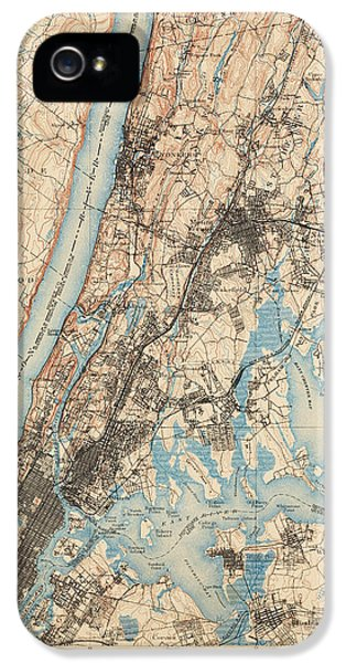 Antique Map Of New York City - Usgs Topographic Map - 1900 IPhone 5s Case by Blue Monocle
