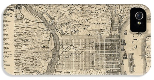 Antique Map Of Philadelphia By P. C. Varte - 1875 IPhone 5s Case by Blue Monocle