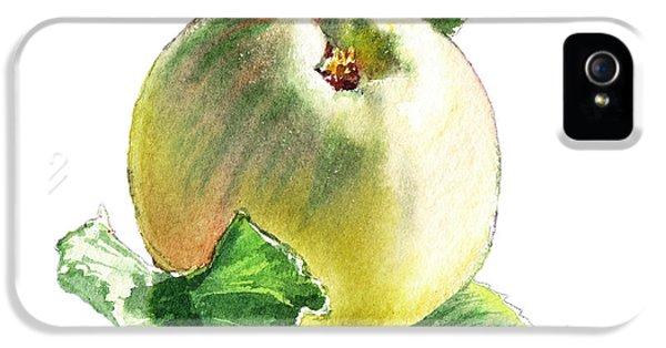 IPhone 5s Case featuring the painting Artz Vitamins Series A Happy Green Apple by Irina Sztukowski