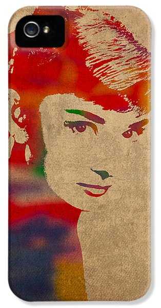 Portraits iPhone 5s Case - Audrey Hepburn Watercolor Portrait On Worn Distressed Canvas by Design Turnpike