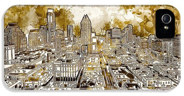 Austin Texas Abstract Panorama 6 IPhone 5s Case by Bekim Art