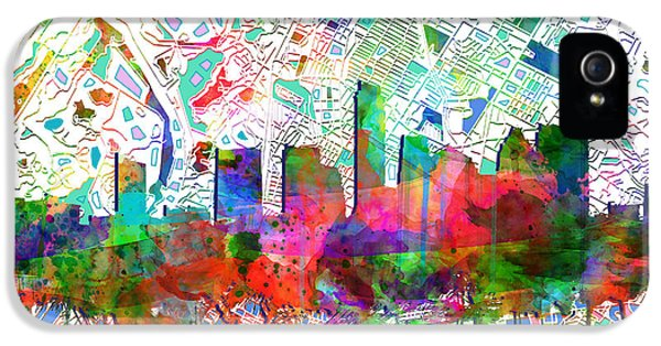 Austin Texas Abstract Panorama 7 IPhone 5s Case by Bekim Art