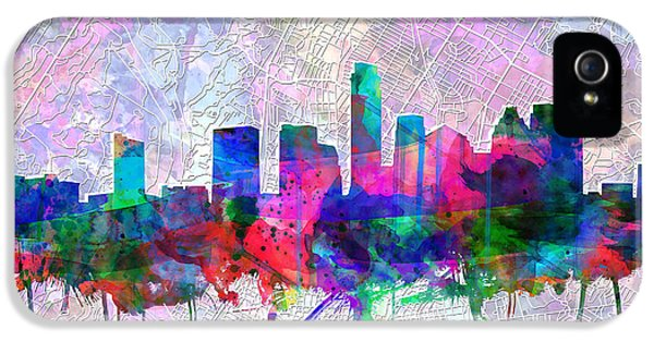 Austin Texas Skyline Watercolor 2 IPhone 5s Case