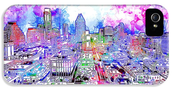 Austin Texas Watercolor Panorama IPhone 5s Case by Bekim Art