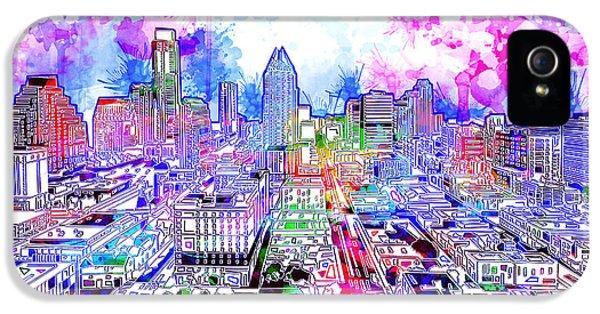 Austin Texas Watercolor Panorama IPhone 5s Case