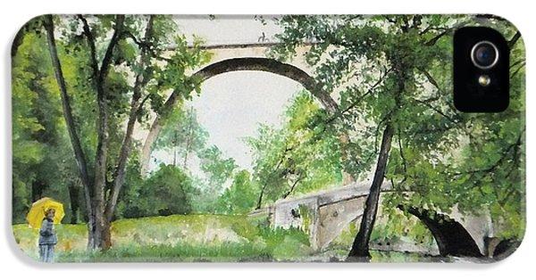 IPhone 5s Case featuring the painting Aux Pieds Des Ponts De Pierre - Perthuis by Marc Philippe Joly