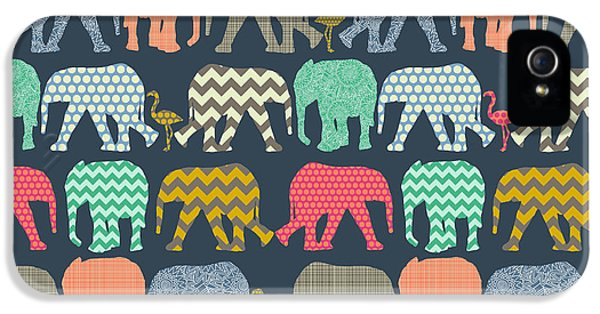 Baby Elephants And Flamingos IPhone 5s Case by Sharon Turner