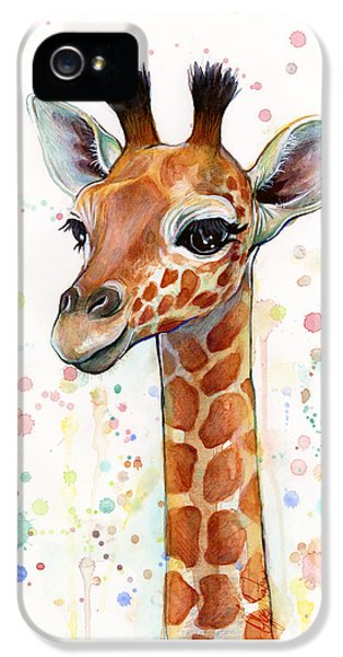Baby Giraffe Watercolor  IPhone 5s Case by Olga Shvartsur