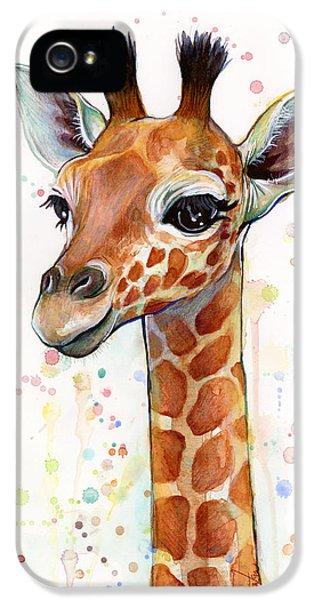 Baby Giraffe Watercolor  IPhone 5s Case by Olga Shvartsur