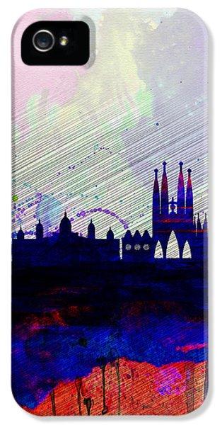 Barcelona iPhone 5s Case - Barcelona Watercolor Skyline 2 by Naxart Studio