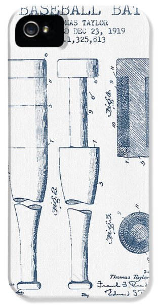 Baseball Bat Patent From 1919 - Blue Ink IPhone 5s Case by Aged Pixel