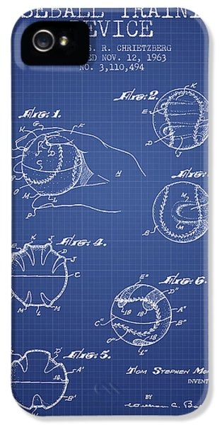 Softball iPhone 5s Case - Baseball Cover Patent From 1963- Blueprint by Aged Pixel