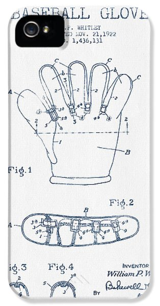 Baseball Glove Patent Drawing From 1922 - Blue Ink IPhone 5s Case