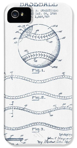 Softball iPhone 5s Case - Baseball Patent Drawing From 1928 - Blue Ink by Aged Pixel