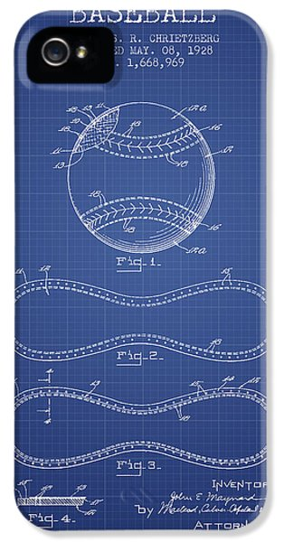 Softball iPhone 5s Case - Baseball Patent From 1928 - Blueprint by Aged Pixel