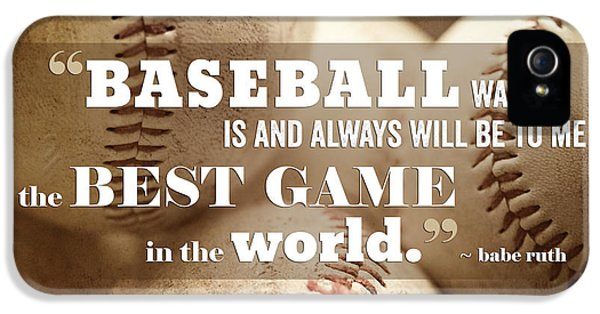Baseball Print With Babe Ruth Quotation IPhone 5s Case